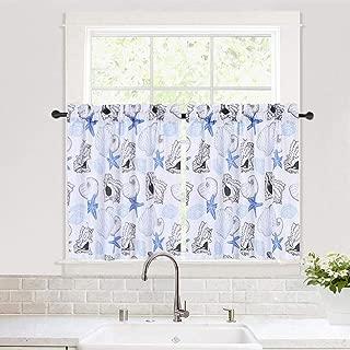 Haperlare Kitchen Curtains, Starfish Pattern Short Bathroom Window Curtain, Seashell Conch Ocean Design Rod Pocket Half Window Kitchen Cafe Curtains, 30