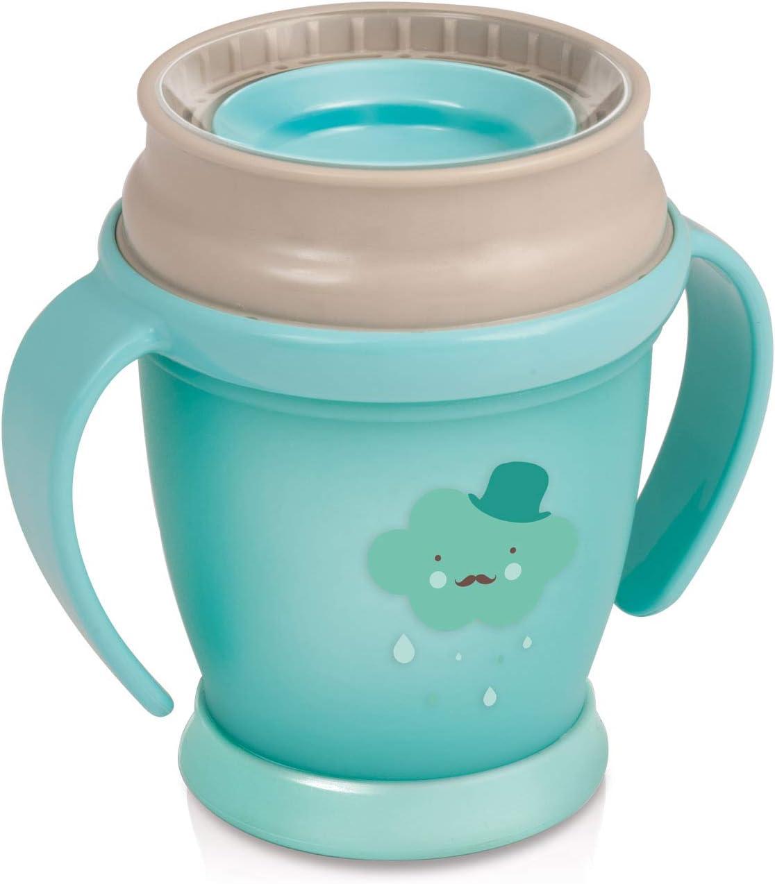 LOVI 360 Grados Vaso de Entrenamiento Antiderrames | 9m+ | 210 ml | Sin BPA | SteriTouch Protección Antibacteriana| Innovador Sistema de Sellado | Fácil de Limpiar | Retro Baby Colección | Menta