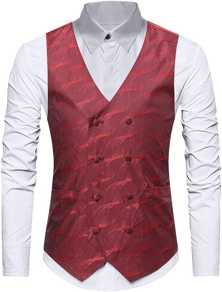 MODOQO Mens Steampunk Vest Waistcoat Slim Fit Business Office Dress Suit