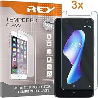 REY 3X Protector de Pantalla para BQ AQUARIS V Plus/Vs Plus, Cristal Vidrio Templado Premium