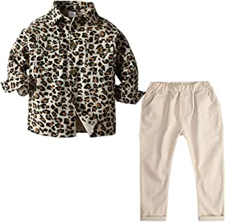 Xifamniy Newborn Kids Spring Outfit Long Sleeve Leopard Pattern Shirt and Matching Pants