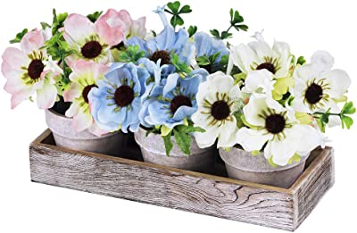 Set of 3 Artificial Poppy Flower Plants in Pots Blue White Pink Silk Poppy Flowers Mini Potted Plants Arrangement with Wood Planter Box for Summer Indoor Office Apartment Tabletop Décor Wedding Center