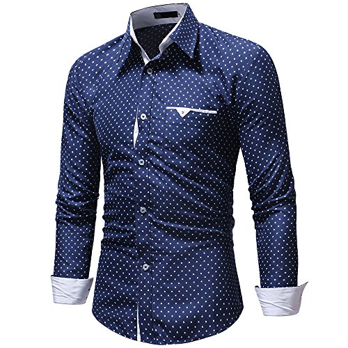 FRAUIT hemd heren mannen shirt lange mouwen polka dot slim fit mannen T-shirt business vrije tijd party reizen dansparty stretch comfortabele top blouse 100% katoen M-XXXL Oktoberfest