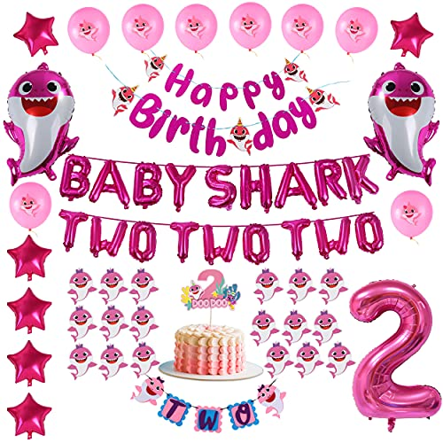 Pink Baby Shark 2nd Birthday Decorations for Girl - TWO TWO TWO and Number 2 Foil Balloons 2 DOO DOO Cake Topper Happy Birthday and TWO Banner Cute Shark Latex Balloon Cupcake Toppers For Baby Girls