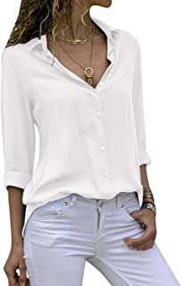 Women's Long Sleeve V Neck Chiffon Blouses Tops Button Down Business Shirts