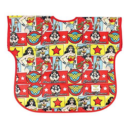 Bumkins DC Comics Wonder Woman Junior Bib / Short Sleeve Toddler Bib / Smock 1-3 Years, Waterproof, Washable, Stain and Odor Resistant – Comic
