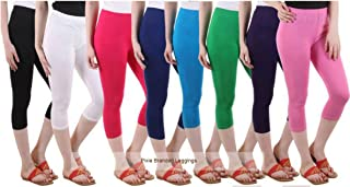 Pixie Women Bio-Washed 220 GSM 3/4th Capri, 4 Way Stretchable, Combo Pack of 8 - Free Size