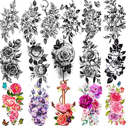 Yezunir 16 Sheets Sexy Flower Temporary Tattoos For Women Peony Sketch Lily Large Anchor Rose Floral With Butterfly Tattoos Temporary Sticker Watercolor Fake Tatoos Kits Girls Kids Arm Legs 3D Tatoo