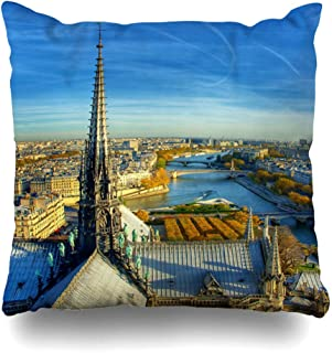 Ahawoso Throw Pillow Cover Pillowcase Visit Steeple Notre Dame City Paris HDR Dynamic Eiffel Tower Attraction Cathedral Catholic Design Zippered Square Size 20 x 20 Inches Home Decor Cushion Case