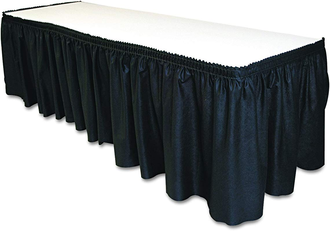 Tablemate TBLLS2914BK Disposable Linen Like Table Skirt Self Adhesive 29 X 14 Black