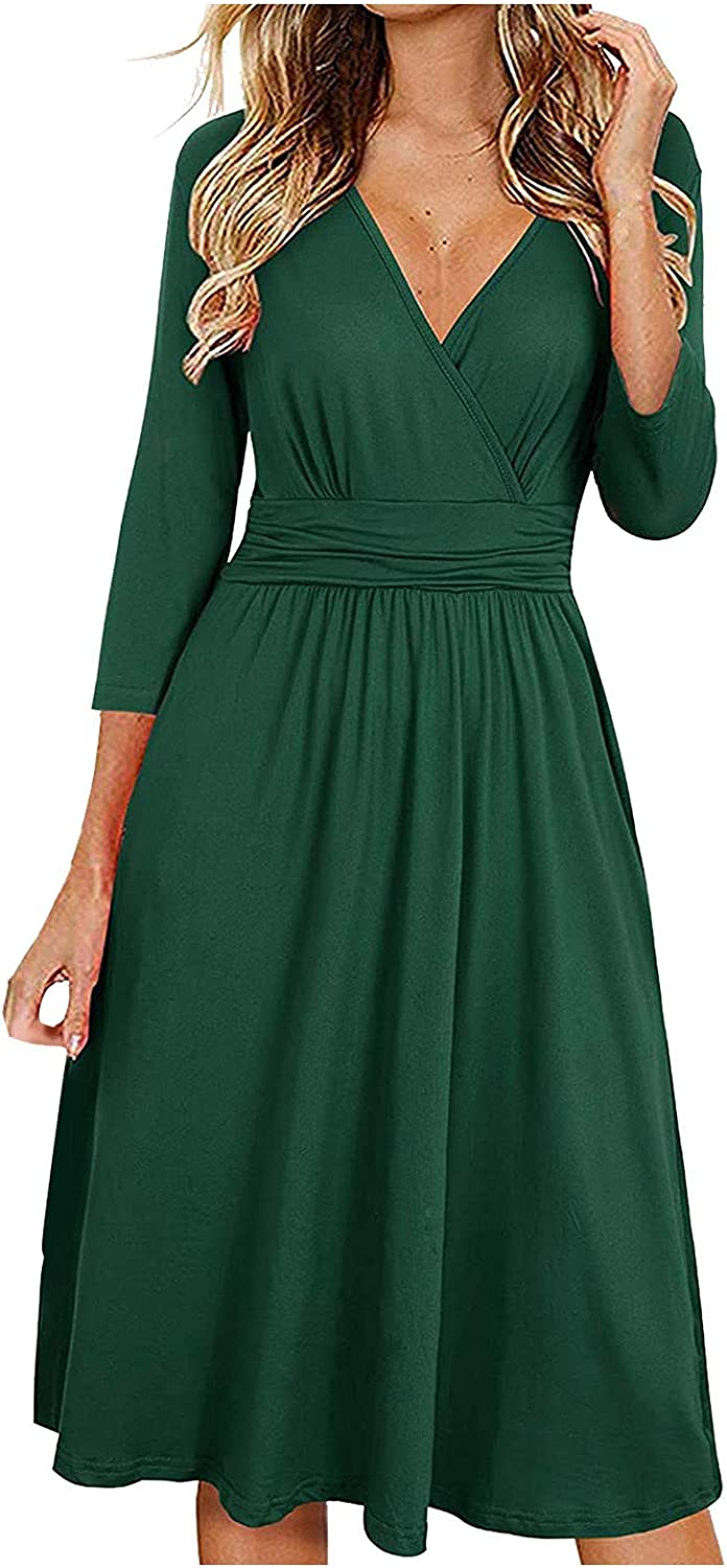 FABIURT Dresses for Women Party,Womens Wrap V Neck 3/4 Sleeve Cocktail Party Dress A-Line Casual Dress with Pockets