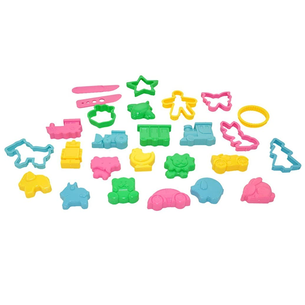Dough Cutters - Kids Cookie Cutters - Play doh Clay Cutters Animals and Objects Shapes - Assorted Colors 26 pcs - Yazycraft