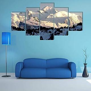 AAAKK Impression sur Toile intissee Coucher de Soleil sur Le Mont Blanc 5 Parties Tableau Tableaux Decoration Murale Photo...