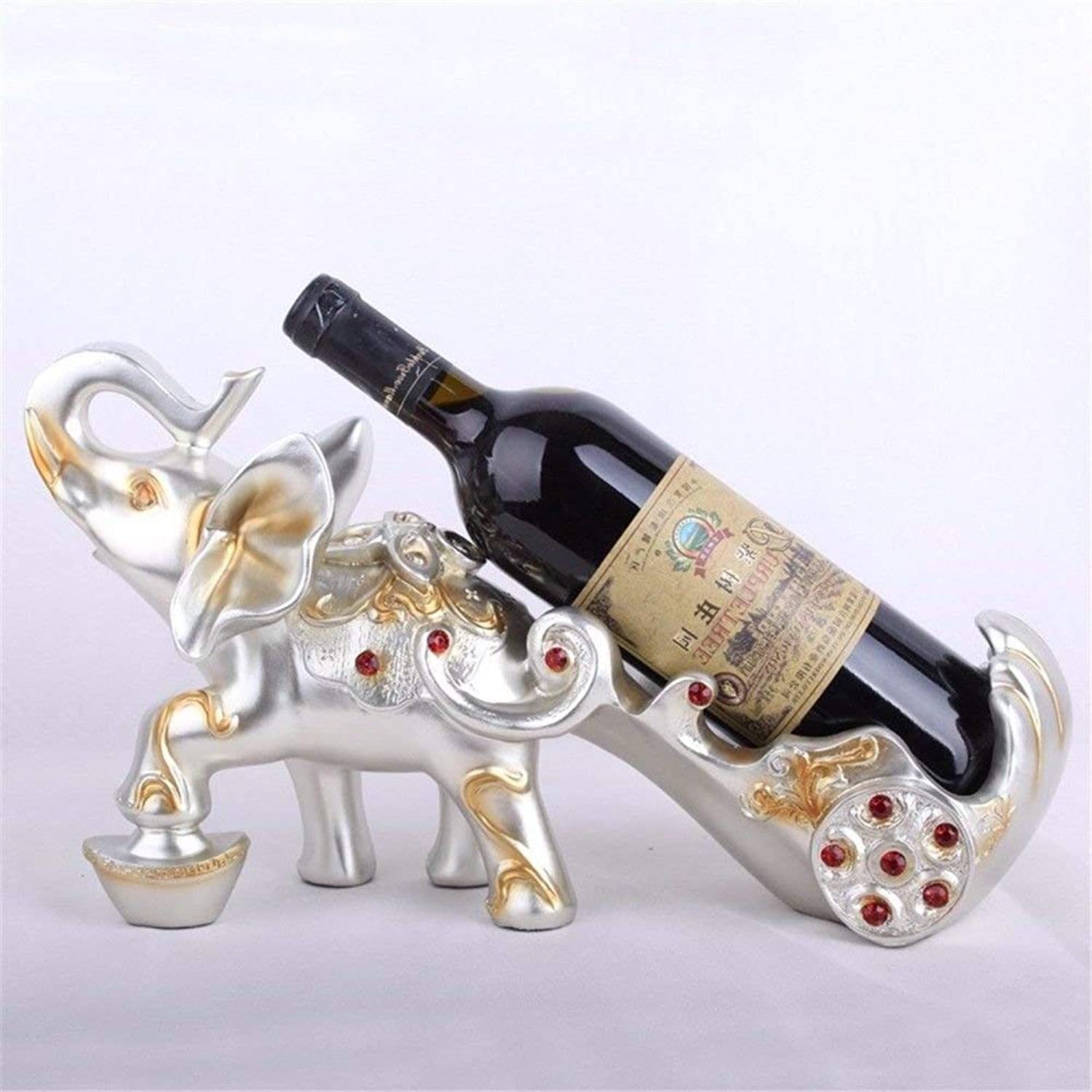 Red Wine Shelf This bottle rack is the perfect accessory for storing bottles - Stackable bottle holder ideal for bottles of vingolden elephant elephant cart, wine, gifts, furnishing decoration, silver