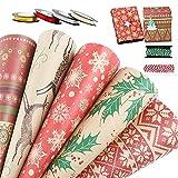 10 Hojas Papel para Envolver Regalos Navidad 70 x 50cm Papeles Envoltura de Colores + 4 Ro...