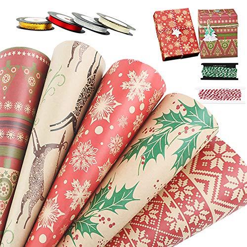 10 Hojas Papel para Envolver Regalos Navidad 70 x 50cm Papeles Envoltura de Colores + 4 Rollos Cintas + 2 Rollos Cuerdas