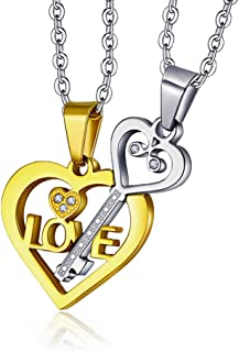 New Fashion Kingdom Couples Necklace for him and her Love Heart & Key Matching Set Stainless Steel CZ Couples Gifts