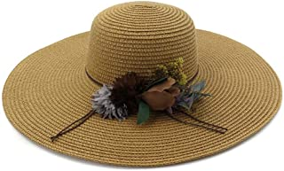 Summer hat 2019 Women's Summer Wheat Hat Sun Hat Floral Sombrero Shoal Cap Suited for Beach Holiday Hat hat (Color : Coffee, Size : 56-58CM)
