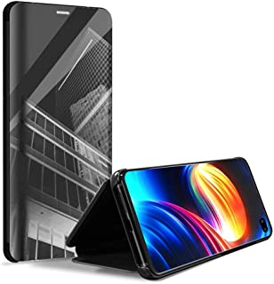 Haobuy Case for Samsung Galaxy S10 Plus, [360 Full Protection] [Support Wireless Charge] Slim Mirror Flip Case with TPU Back, Shockproof Stand Cover for Samsung Galaxy S10 Plus 6.4 Inch (Black)