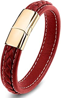 Leather Bracelet For Men and Women Braided with Metal Stainless Steel Buckle Retro Men Women Jewelry Fashion