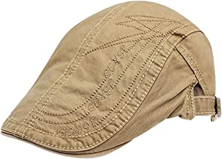 2019 Womens Hats Caps Quilted Embroidery Duckbill Newsboy Gatsby Irish Hat Men Cotton Adjustable Flat Cap (Color : Beige, Size : M)