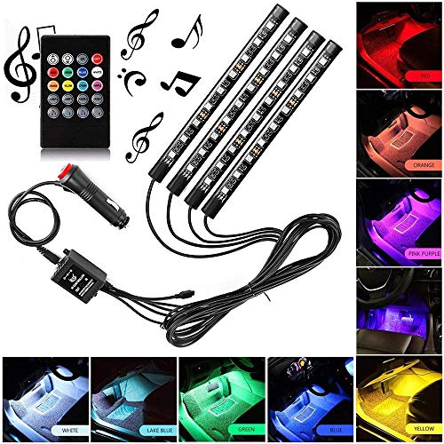 Xintaistore Car LED Strip Light, 4pcs 36 LED DC 12V Multicolor Music Car Interior Light LED Under Dash Lighting Kit with Sound Active Function and Wireless Remote Control, Car Charger