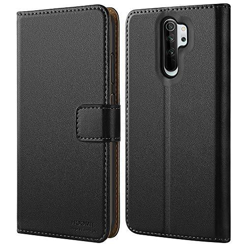 HOOMIL Handyhülle für Xiaomi Redmi Note 8 Pro Hülle, Premium PU Leder Flip Schutzhülle für Xiaomi Redmi Note 8 Pro Tasche, Schwarz