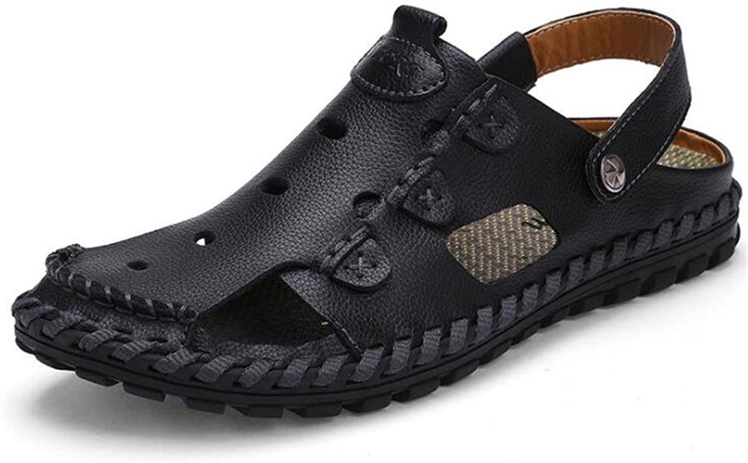 Men shoes Genuine Leather Sandals Beach Summer Closed Toe Pull on Slipper Breathable Slides Non-Slip Size 38 To 43