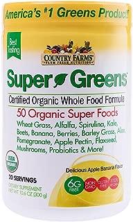 Country Farms Super Greens Banana Flavor, 50 Organic Super Foods, USDA Organic Drink Mix, 20 Servings