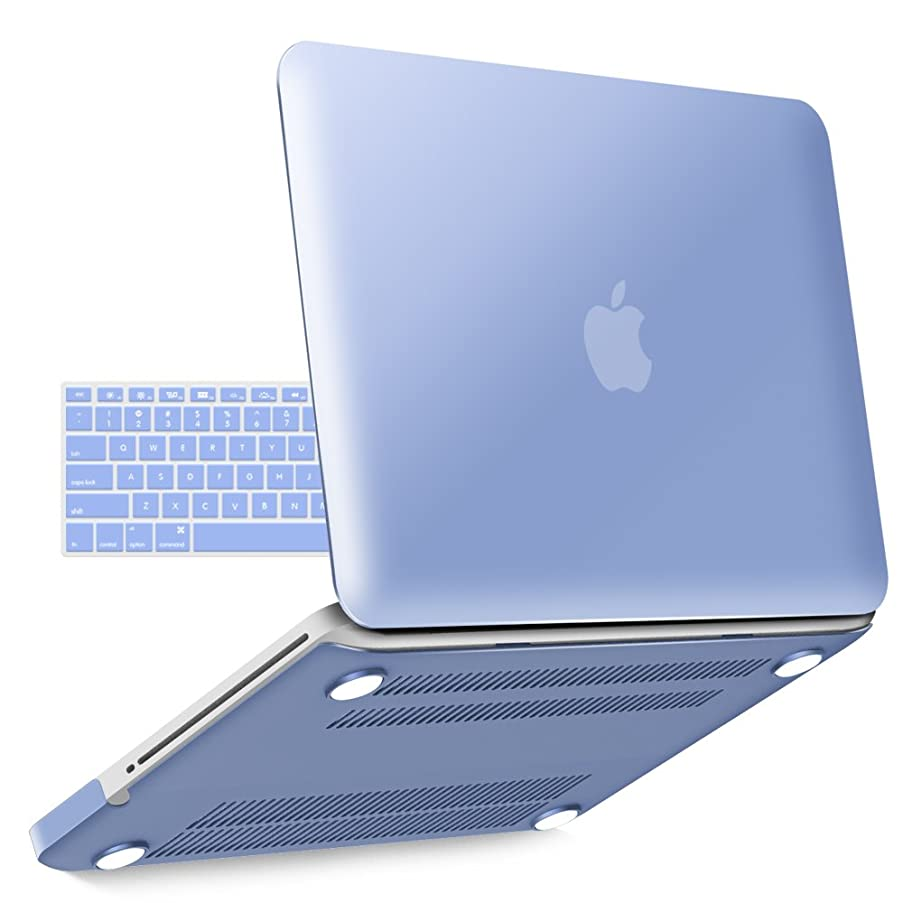 iBenzer Old MacBook Pro 13 Inch case A1278, Soft Touch Hard Case Shell Cover with Keyboard Cover for Apple MacBook Pro 13 with CD-ROM, Serenity Blue MMP1301SRL+1 N