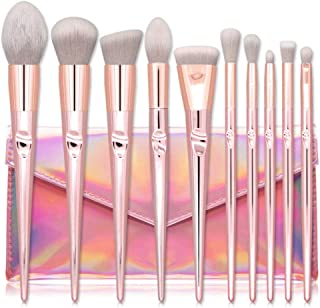 TUBEINC 10 PC Cone-Shape Makeup Brush Set Foundation Concealer Eyeshadow Contour Beauty Make up Brushes Tool Pink Cosmetic Tool Makeup Learner Brush Set
