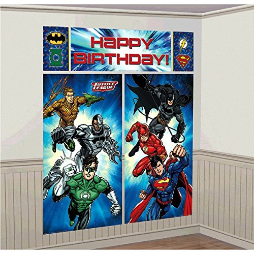 """Amscan Adventure Filled Justice League Birthday Party Scene Setters Wall Decorating Kit, Multi Colored, Vinyl, 59"""" x 65"""", 5-Piece"""