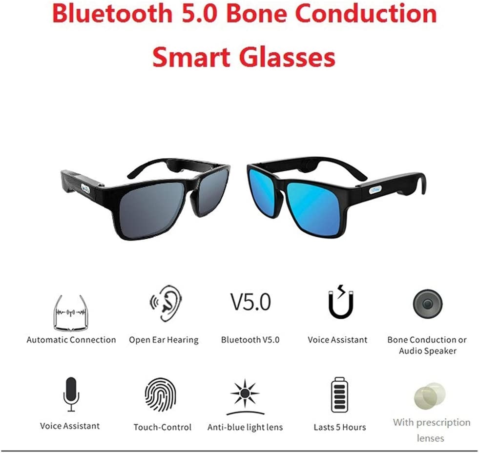 Bone Conduction Audio Smart Sunglasses, Bluetooth 5.0 Smart Glasses Stereo Headset Polarized Sunglasses Listen Music and Calls UV Ray Protection Lenses Sport Glasses,Yellow