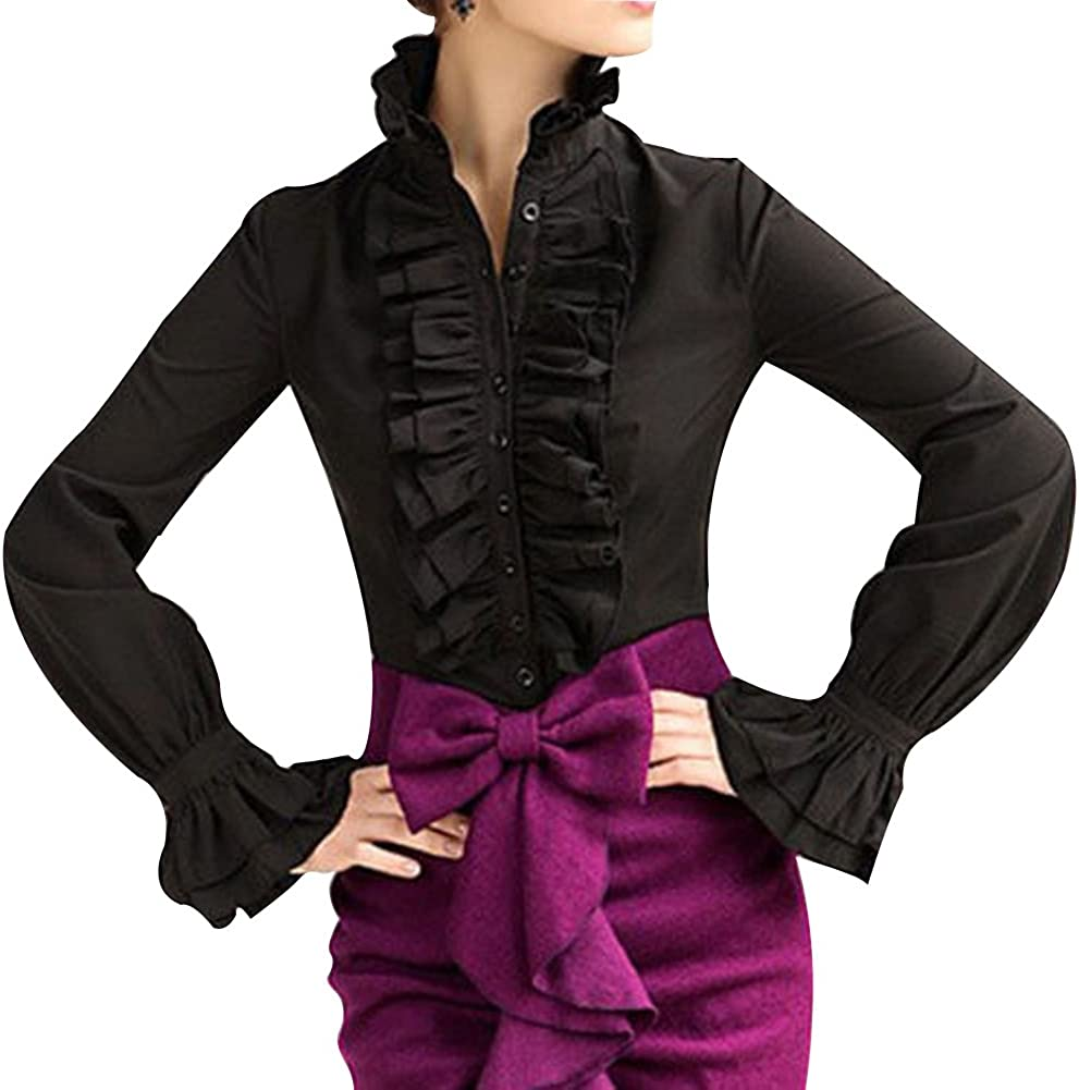 Steampunk Clothing, Fashion, Costumes Loalirando Women Vintage Victorian Button Down Trumpet Sleeve Tops High Neck Frilly Ruffle Shirt Blouse  AT vintagedancer.com