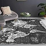 Alfombra de Sala Grande Home Decoración Mundo inglés Abstracto Negro y Gris de Moda Dormitorio Infantil Dormitorio Antideslizante Pelo Corto Alfombra 80X200CM