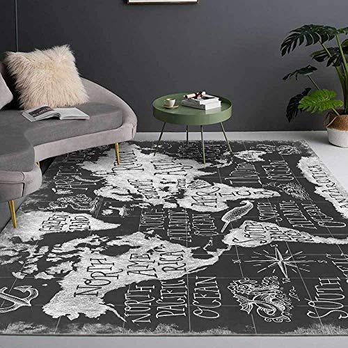 Alfombras Rugs for Living Room Alfombra Casual con patrón de Mundo inglés de Graffiti Simple Gris Negro Alfombra niño Alfombra Salon Pelo Corto 60*120cm