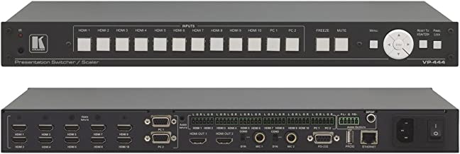 Kramer Electronics VP-444 12-Input 1U HDMI & Analog ProScale Presentation Digital Scaler/Switcher with Microphone Inputs & Ethernet Control