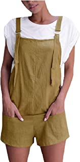 XINHEO Women Overalls Daily Relaxed Fit Cotton Soft Plush Shorts Bib Pants