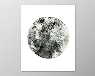 Full moon poster (8x10) #A089. Moon Art. Art print. Wall art.New moon poster.Twilight.black white art.black and white wall art.