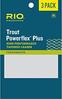 RIO Fly Fishing Power flex-Plus 9' 5X Fishing Leaders, Clear, Pack of 3