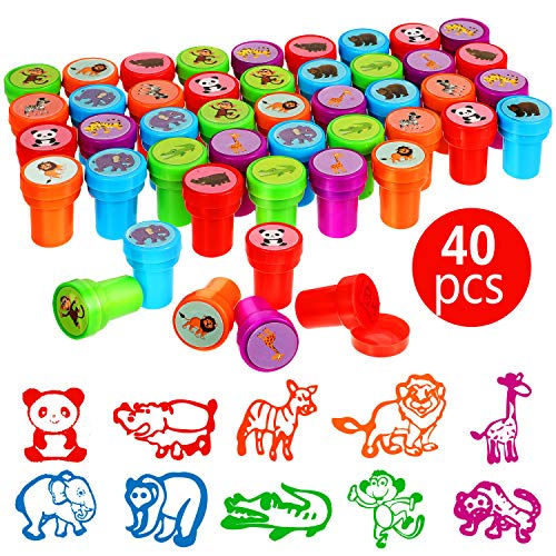 40 Pieces Wild Animal Stampers Multicolor Jungle Safari Animals Stamps Self-Ink Stampers for Party Supplies Gifts, 10 Styles