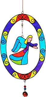 CRISTALICA Window Charm Window Decoration Wind Play Suncatcher ENGEL Blue//Green 17 cm Glass