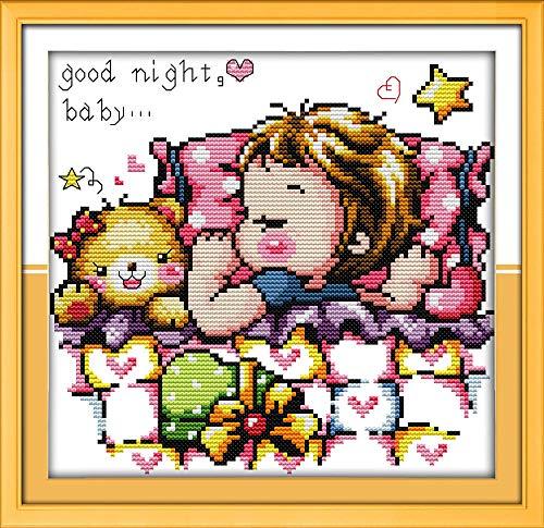 Kit de punto de cruz para adultos-DIY Cross Stitch estampado costura patrón de bordado-Cross Stitch costura a mano artesanía regalo-11CT Lienzo preimpreso 40x50cm- Dulce bebé durmiente (macho)