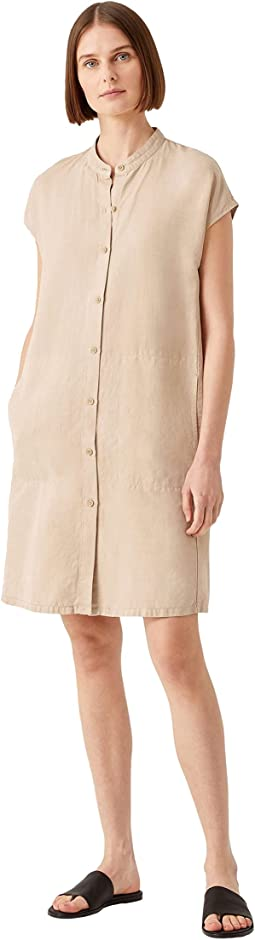 Mandarin Collar Cap Sleeve Dress in Tencel & Linen