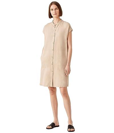 Eileen Fisher Mandarin Collar Cap Sleeve Dress in Tencel Linen