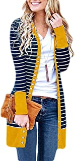 Women V Neck Button Down Long Sleeve Basic Slim Knit Jumpers Cardigan Sweater