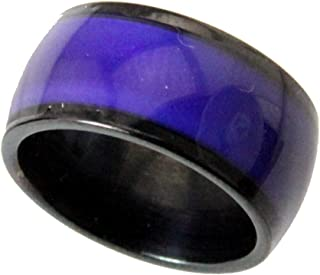 S15 Black Stainless Steel 10mm Wide Mood Ring Endless Band Color Changing 1970's Excellent Quality