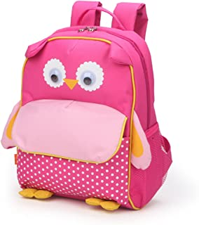 Little Kids School Bag Pre-K Toddler Backpack - Name Tag and Chest Strap, Owl