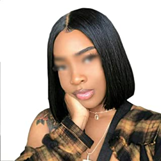 Sheep Store Short Bob Lace Front Human Hair Wigs 130% Density Brazilian Straight Hair Wigs Pre Plucked Natural Hairline Remy Hair,8Inches