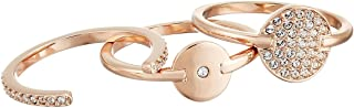 SWAROVSKI Ginger Rose Gold-Plated Crystal Three Ring Set (6.75)